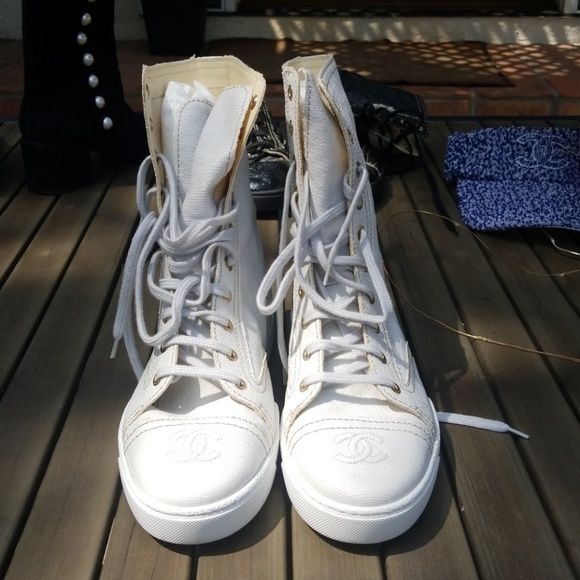White Chanel Boots 38 Coated Canvas